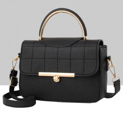 Square Textured Black Flap Shoulder Mini bag WB-58BK