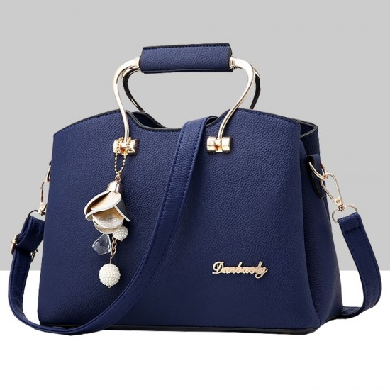Retro Leather Plain Blue Shoulder Handbag WB-57BL image