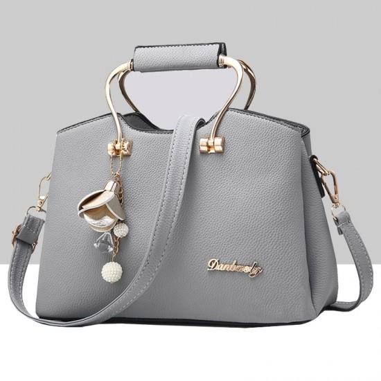 Retro Leather Plain Grey Shoulder Handbag WB-57GR image