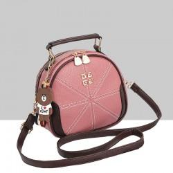 Stitched Lines Designed Pink Shoulder Bag WB-56PK