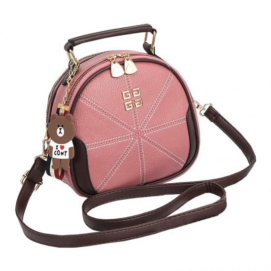 Stitched Lines Designed Pink Shoulder Bag WB-56PK image