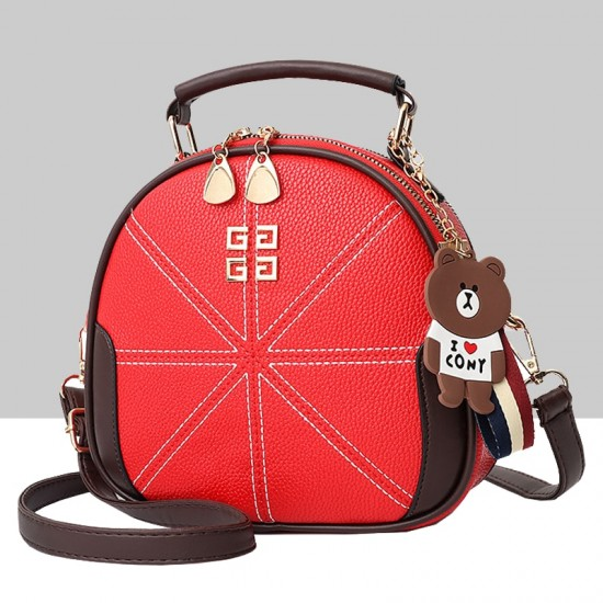 Stitched Lines Designed Red Shoulder Bag WB-56RD image