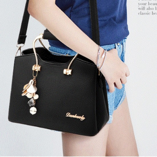 Retro Leather Plain Black Shoulder Handbag WB-57BK image