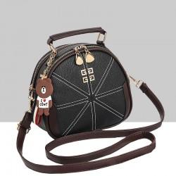 Stitched Lines Designed Black Shoulder Bag WB-56BK