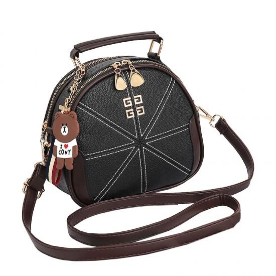 Stitched Lines Designed Black Shoulder Bag WB-56BK image