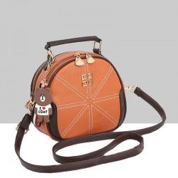 Stitched Lines Designed Brown Shoulder Bag WB-56BR