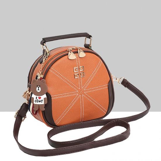 Stitched Lines Designed Brown Shoulder Bag WB-56BR image
