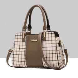 Brown Contrast Plaided Stitching Handbag WB-53BR