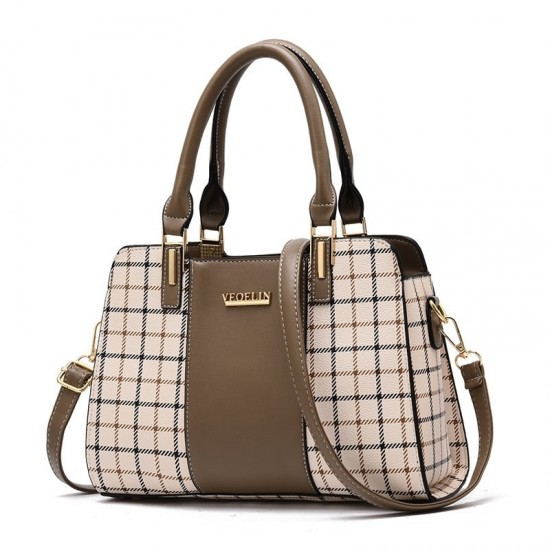 Brown Contrast Plaided Stitching Handbag WB-53BR image