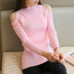 Korean Slim thin Long-sleeved Sweater Off-shoulder Women Shirt WH-20PK