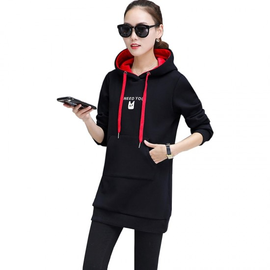 Women's Casual Style Winter Pullover Hoodie WH-30BK |image