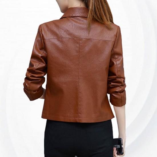Leather Women Short Paragraph Brown Color Jacket WJ-43BR image
