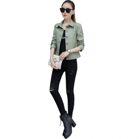 Leather Women Short Paragraph Light Green Color Jacket WJ-43LG  image