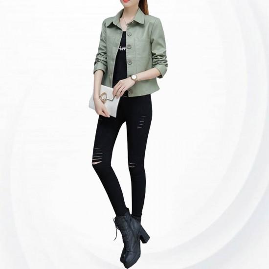 Leather Women Short Paragraph Light Green Color Jacket WJ-43LG |image