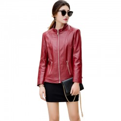 Autumn Winter New Ladies Leather Red Color Jacket WJ-31RD