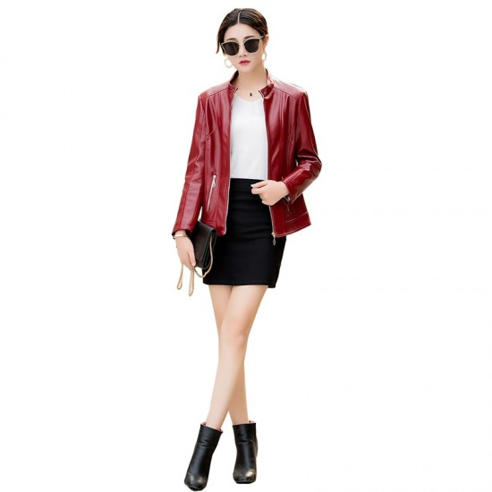 Autumn Winter New Ladies Leather Red Color Jacket WJ-31RD |image