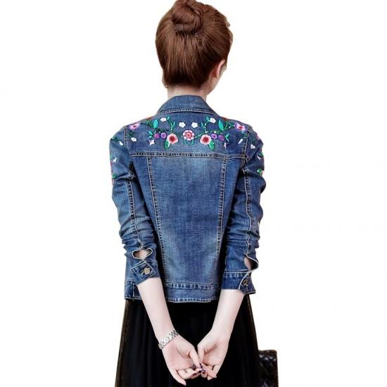 Embroidered Denim Jacket Female Short Jacket WJ-32BL image