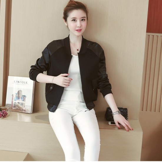 Loose Stitching Baseball Wild Thin Long-sleeved Jacket WJ-33BK image