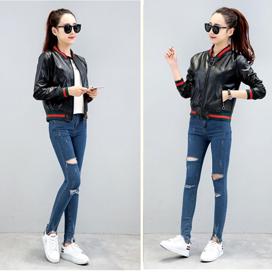 2019 New Korean Version Women Pu Leather Jacket WJ-29BK |image