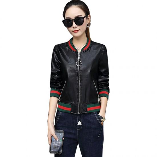 2019 New Korean Version Women Pu Leather Jacket WJ-29BK |image