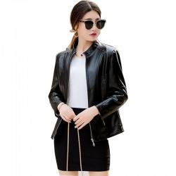 Autumn Winter New Ladies Leather Black Color Jacket WJ-31BK