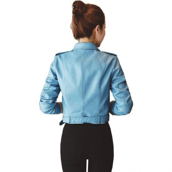 Women's Winter Slim Leather Jacket WJ-30LB image