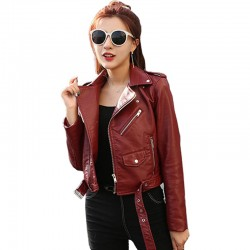 Women's Winter Slim Leather Jacket WJ-30RD