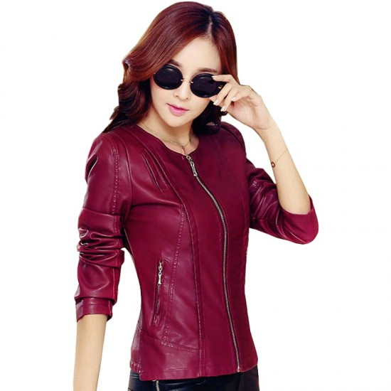 Round Neck Leather Korean Design Women Jacket WJ-38RD image