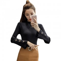 Black Color Korean Sweater Heart Cuts on Sleeves WH-22BK