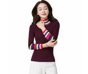 Women's Rainbow Stripes Long Sleeved Sweater WH-21RD