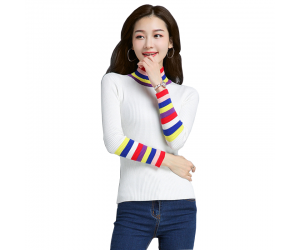 Women's Rainbow Stripes Long Sleeved Sweater WH-21WT