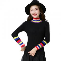 Women's Rainbow Stripes Long Sleeved Sweater WH-21BK