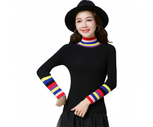 Women's Rainbow Stripes Long Sleeved Sweater WH-21BK