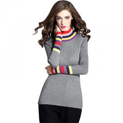 Women's Rainbow Stripes Long Sleeved Sweater WH-21GR