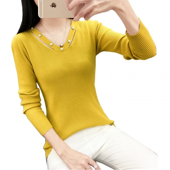 Women's Long-sleeved V-neck Sexy Slim Sweater WH-23YL
