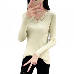 Women's Long-sleeved V-neck Sexy Slim Sweater WH-23CR