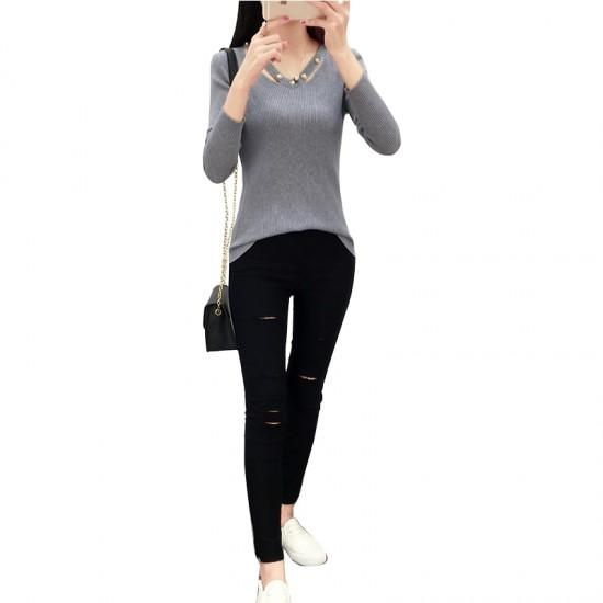 Women's Long-sleeved V-neck Sexy Slim Sweater WH-23GR