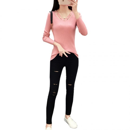 Women's Long-sleeved V-neck Sexy Slim Sweater WH-23PK image