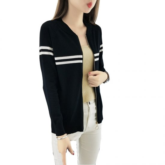 Full Sleeves Formal White Contrast Black Sweater WH-24BK |image