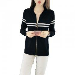 Full Sleeves Formal White Contrast Black Sweater WH-24BK