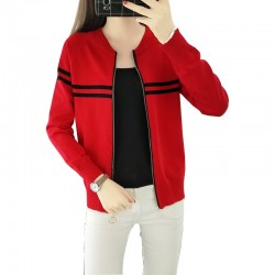 Full Sleeves Formal Black Contrast Red Sweater WH-24RD