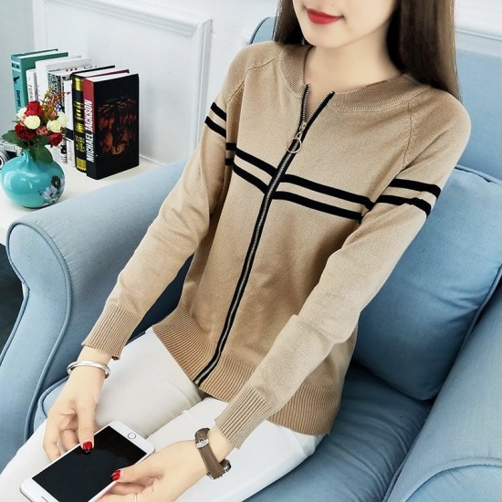 Full Sleeves Formal Black Contrast Brown Sweater WH-24BR |image