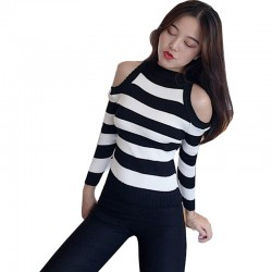Slim Striped Sweater Long-sleeved Wild Short Jacket WH-25BK