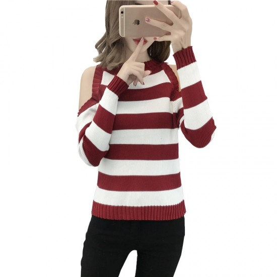 Slim Striped Sweater Long-sleeved Wild Short Jacket WH-25RD