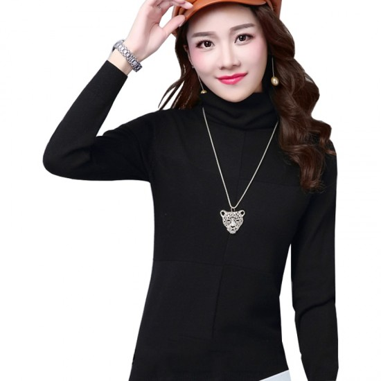 Women's Check Patched High Neck L-Sleeve Sweater WH-26BK