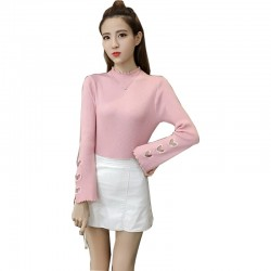 Pink Color Korean Sweater Heart Cuts on Sleeves WH-22PK