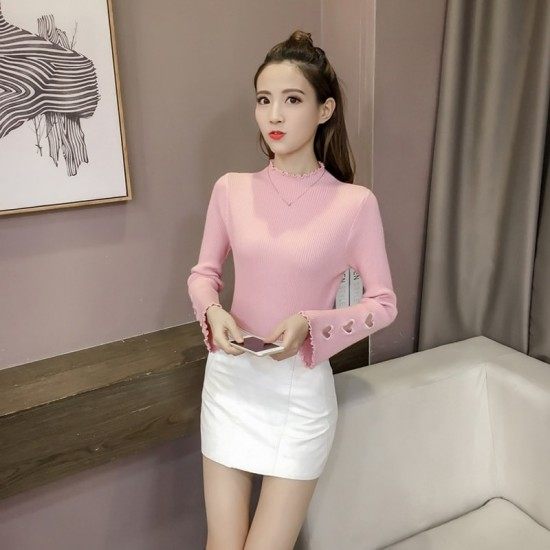 Pink Color Korean Sweater Heart Cuts on Sleeves WH-22PK image