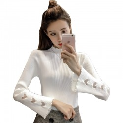 White Color Korean Sweater Heart Cuts on Sleeves WH-22WT
