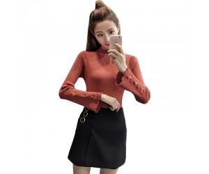Brown Color Korean Sweater Heart Cuts on Sleeves WH-22BR