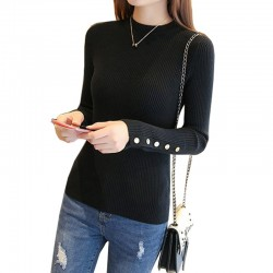 Women's Head Long-Sleeved Tight-fitting Slim Sweater WH-28BK